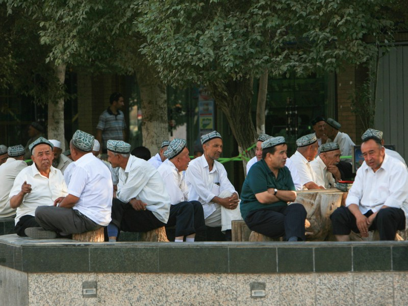 Uyghur men are seen outside Id Kah Mosque in Kashgar, in China's Xinjiang province. Id Kah is the main mosque in Kashgar and the largest in China; built around 1442, it can hold up to 20,000 worshippers. The region is  inhabited by several ethnic minorities including Muslim Uyghurs that often clash with the central authorities. Photo: Asia Times
