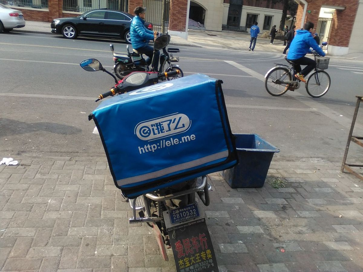 The delivery bike of the food delivery app Ele.me in China. Photo: Wikimedia Commons