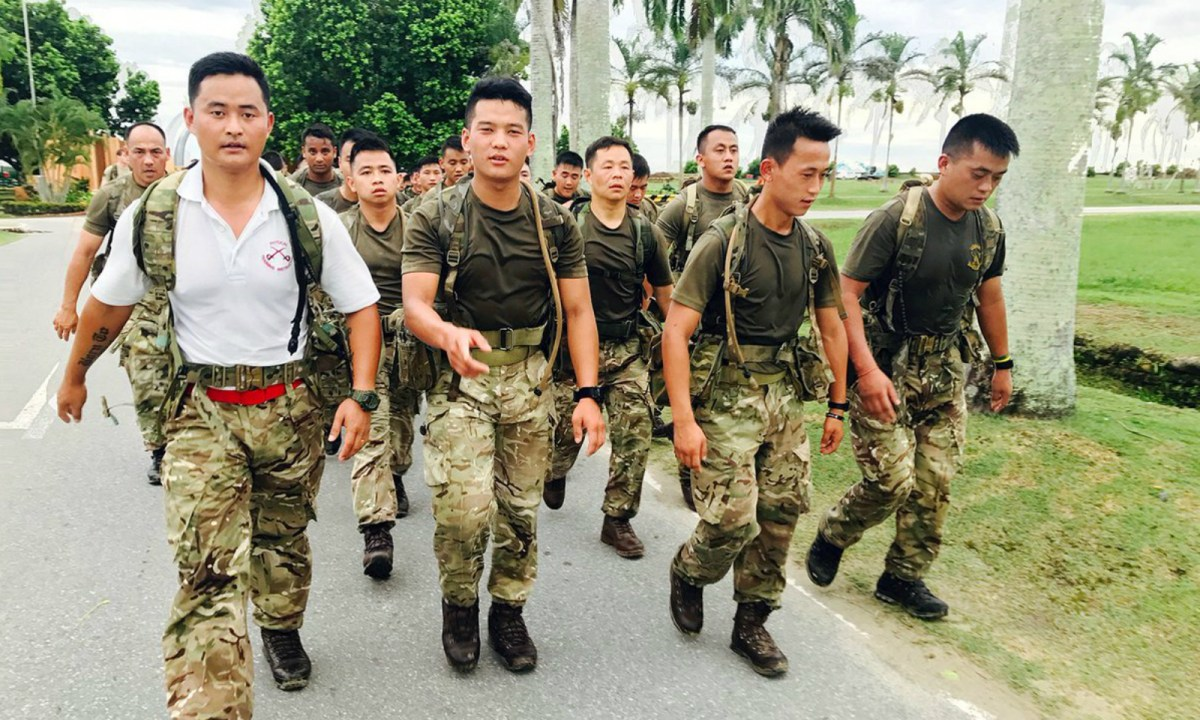 Gurkha soldiers carry out acclimatization training in Brunei after 2nd Battalion The Royal Gurkha Rifles relocated there from Folkestone, England. Photo: twitter, @BritishArmy