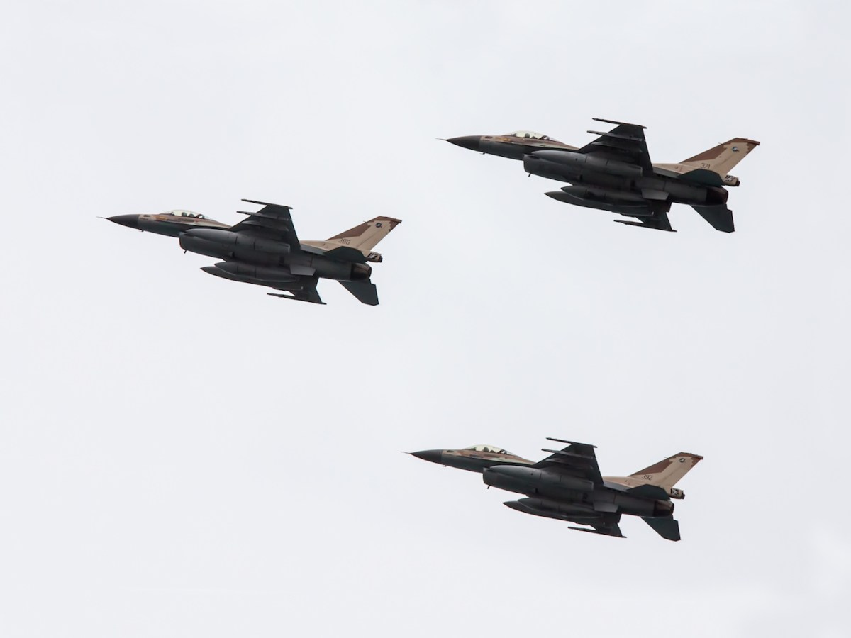 Israeli F-16s perform an exhibition exercise during an Independence Day show on April 06, 2014, in Netanya, Israel. Photo: iStock