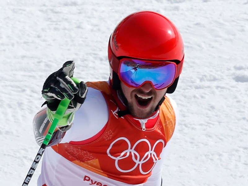 Austria's Marcel Hirscher after his epic run to clinch the men's giant slalom gold medal in Pyeongchang, South Korea. Photo: Reuters / Mike Segar