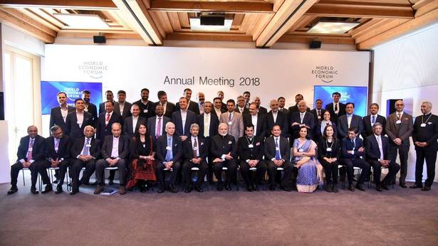 Prime Minister Narendra Modi at the World Economic Forum in Davos with key accused Nirav Modi.
