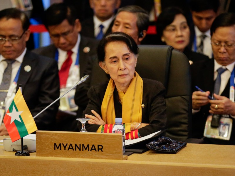 Myanmar's State Councellor and Foreign Minister Aung San Suu Kyi looks on during the 9th Asean-UN Summit in Manila on November 13, 2017. Photo: AFP/Linus Escandor II