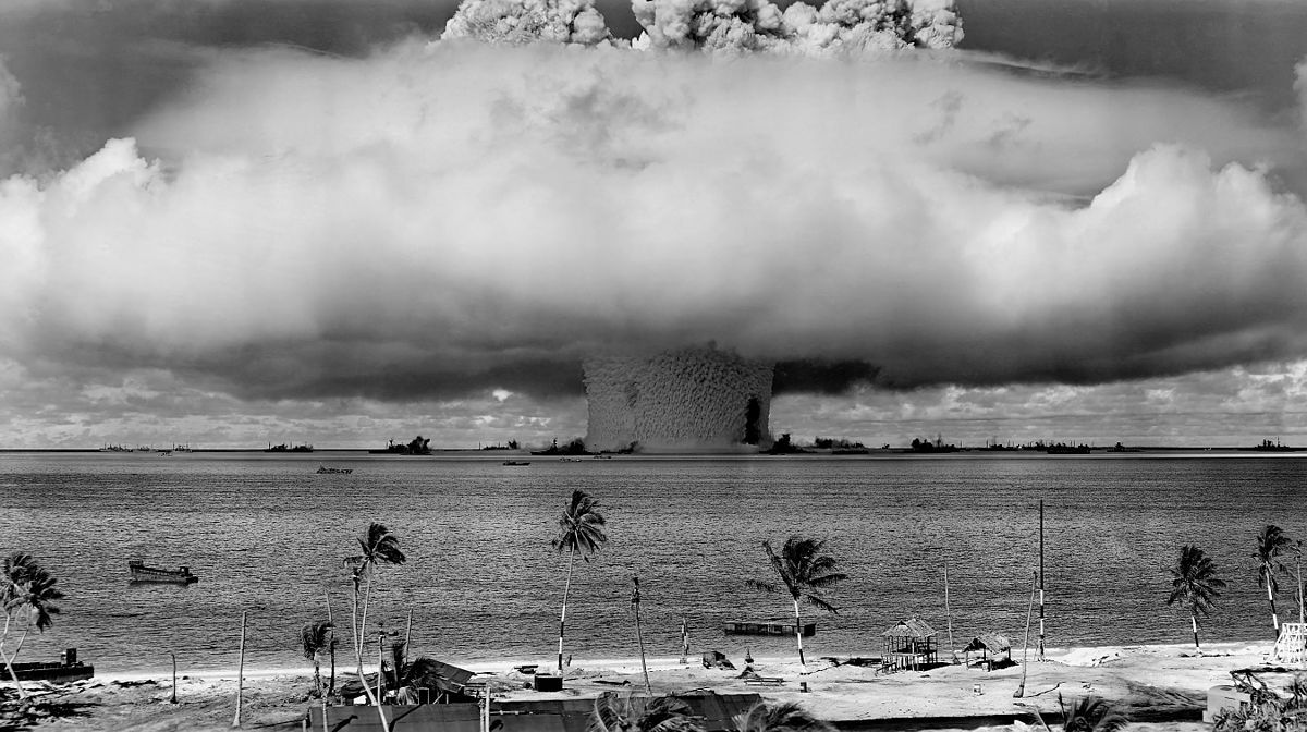"""The """"Baker"""" explosion, part of Operation Crossroads, a nuclear weapon test by the United States military in the Pacific in 1946. Photo: US Department of Defense"""