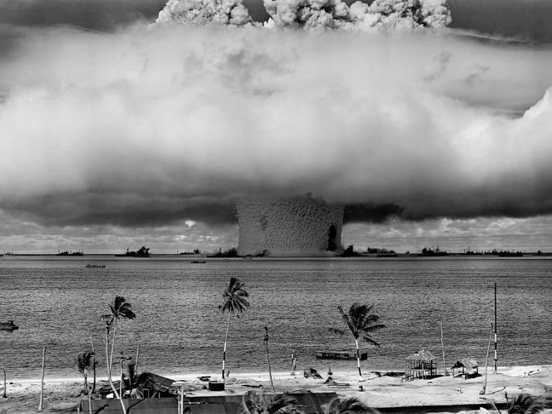 "The ""Baker"" explosion, part of Operation Crossroads, a nuclear weapon test by the United States military in the Pacific in 1946. Photo: US Department of Defense"