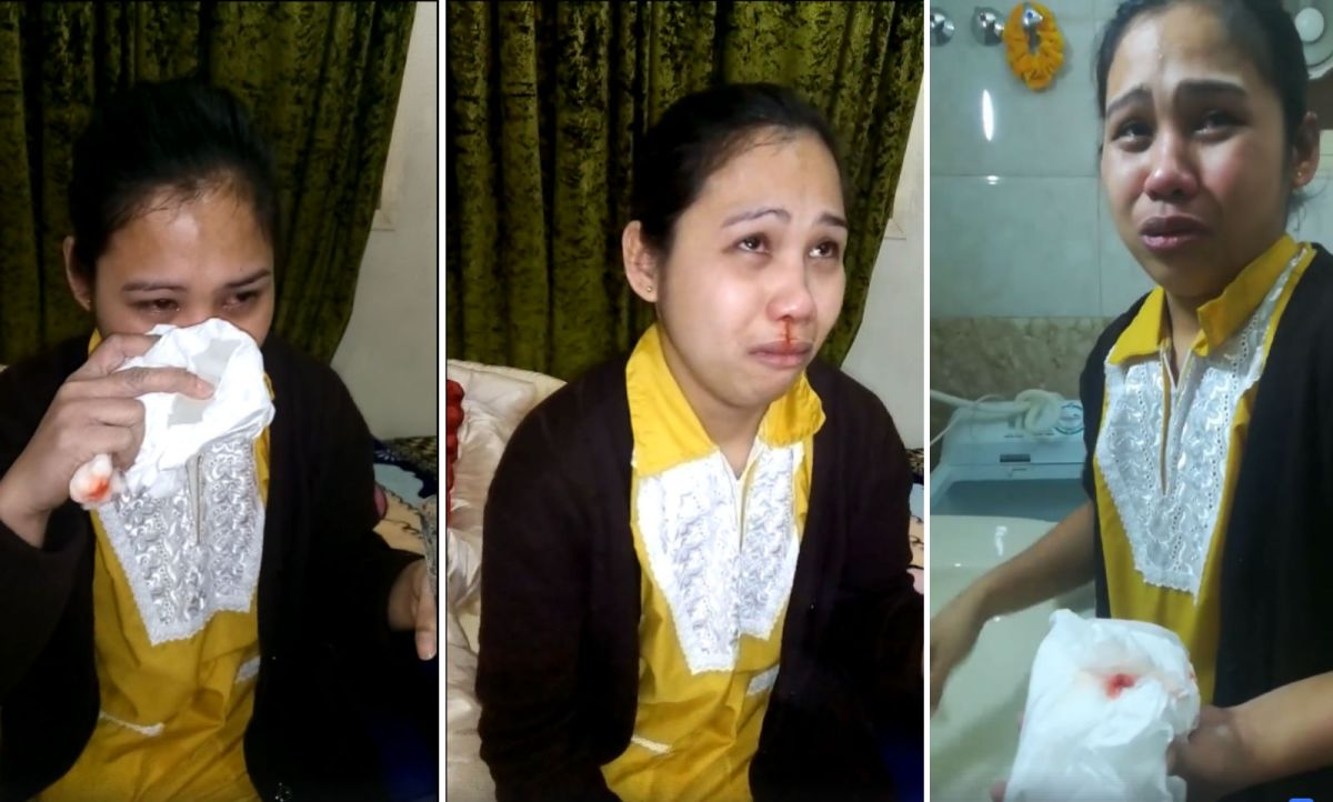 Hazel Ramos claims she was slapped by her employer until her nose bled. Photos: Facebook