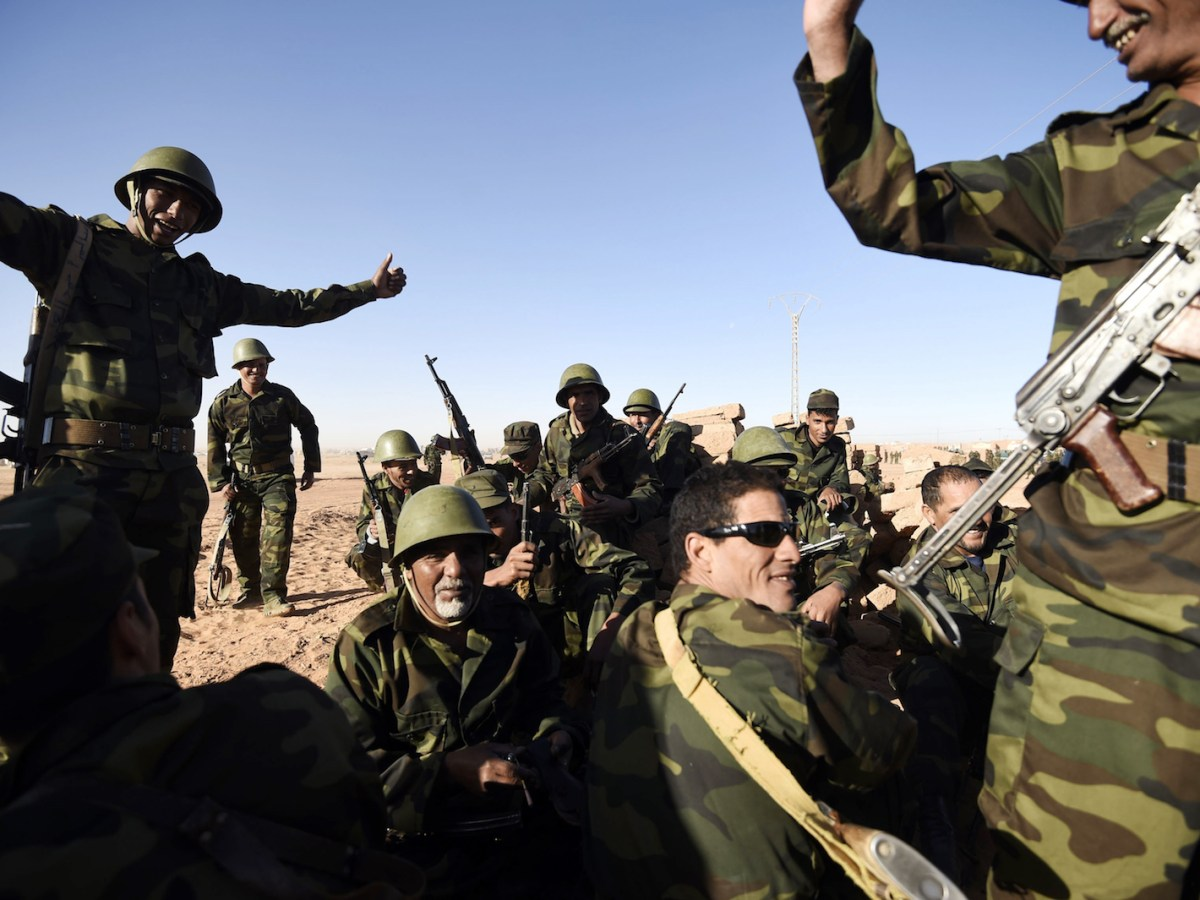 Members of the Sahrawi People's Liberation Army take part in a ceremony to mark 40 years after the Front proclaimed the Sahrawi Arab Democratic Republic (SADR) in the disputed territory of Western Sahara on February 27, 2016 at the Sahrawi refugee camp of Dakhla. Photo: AFP/Farouk Batiche