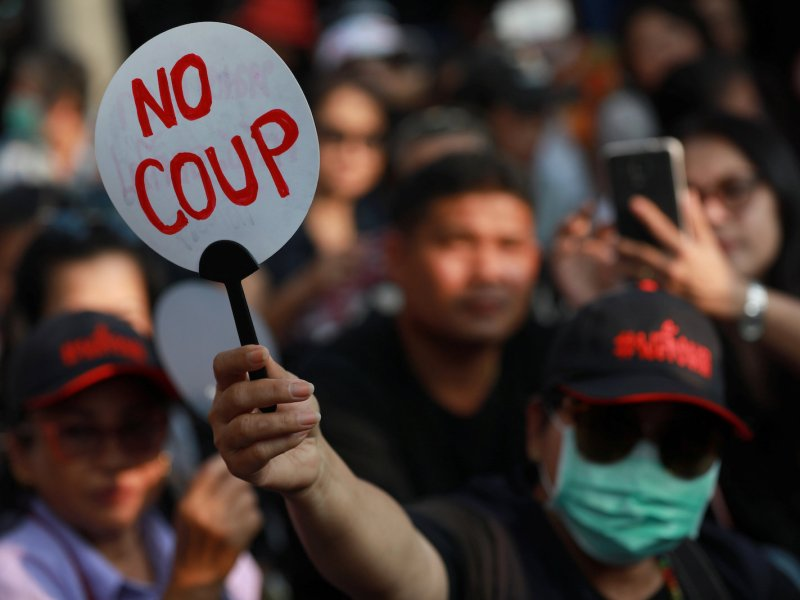 A pro-democracy activist takes part in a protest against the Thai junta near Democracy Monument in Bangkok on February 10, 2018. Photo: Reuters / Soe Zeya Tun