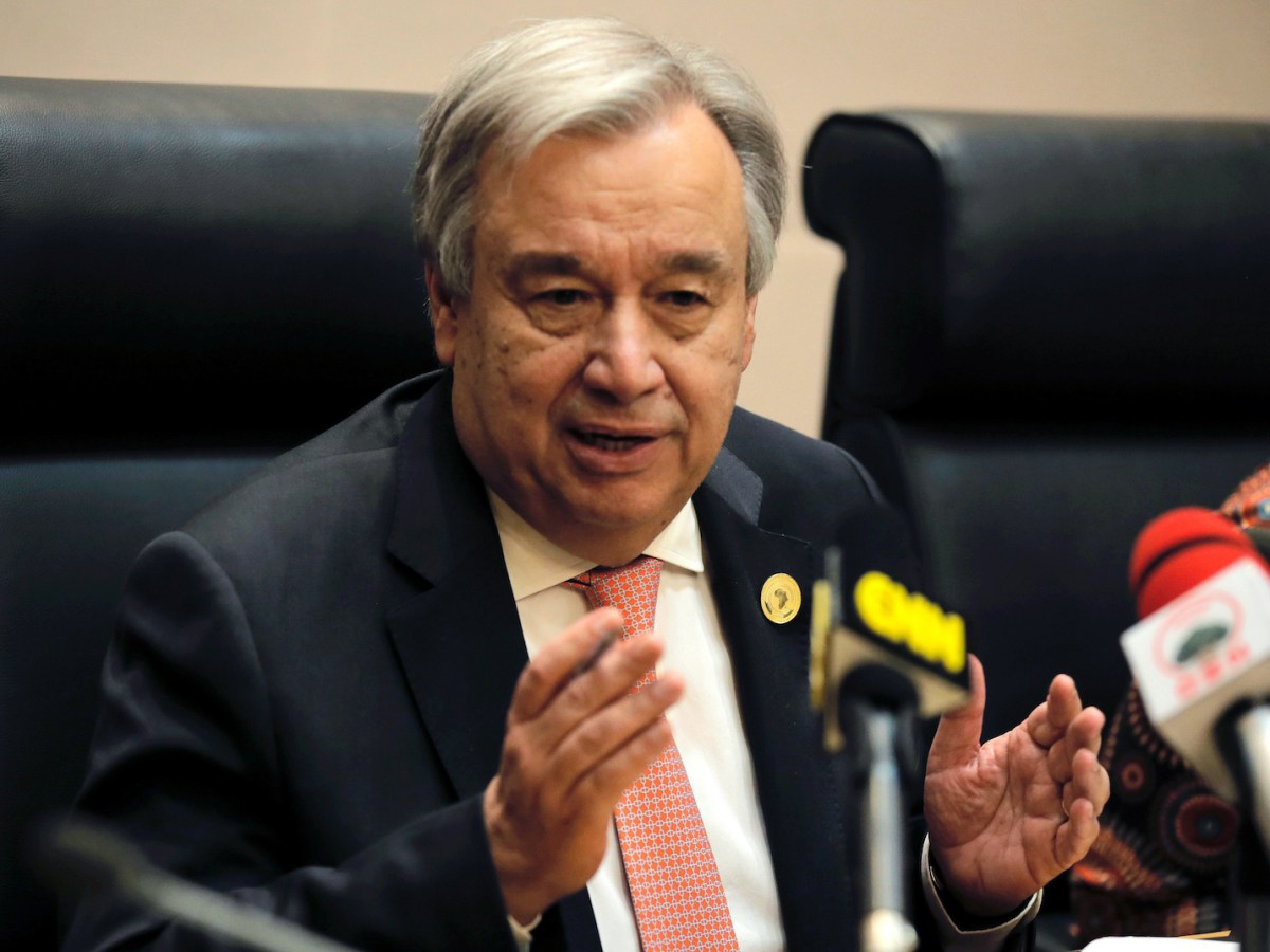 FILE PHOTO - U.N. Secretary General Antonio Guterres addresses a news conference during the 30th Ordinary Session of the Assembly of the Heads of State and the Government of the African Union in Addis Ababa, Ethiopia January 28, 2018. REUTERS/Tiksa Negeri