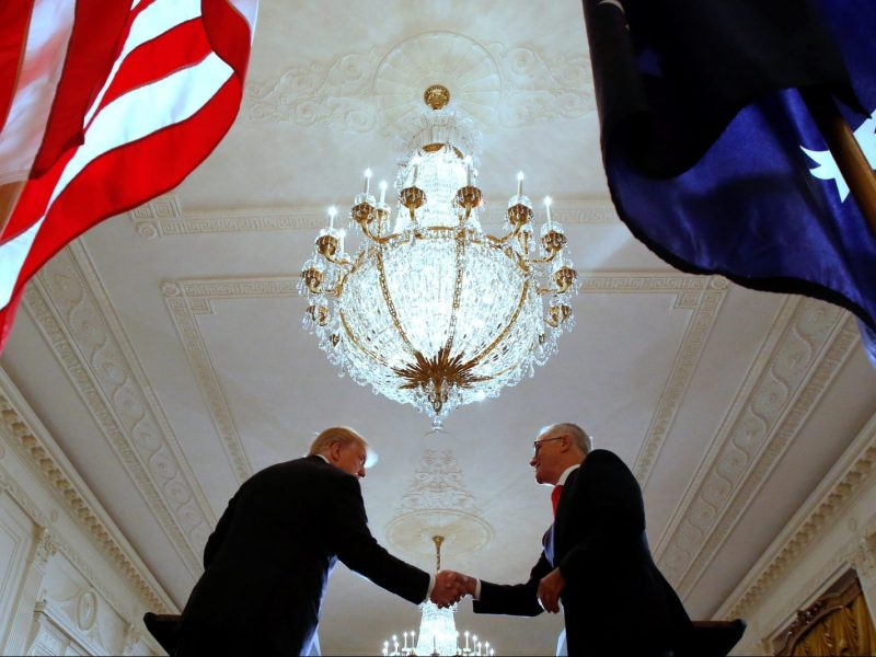 Australia's Prime Minister Malcolm Turnbull and US President Donald Trump shake hands during a news conference at the White House in Washington, February 23, 2018. Photo: Reuters/Jonathan Ernst