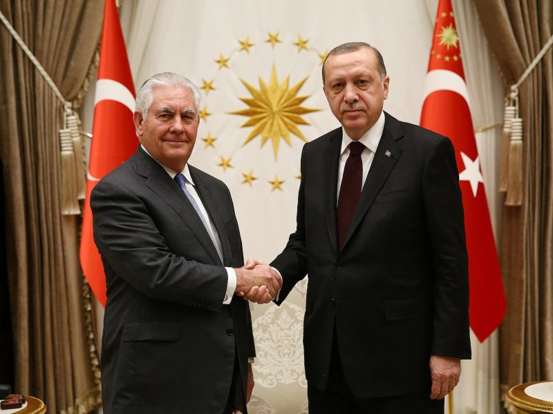 Turkish President Tayyip Erdogan (R) meets US Secretary of State Rex Tillerson (L) in Ankara, Turkey February 15, 2018. Presidential Palace Handout via Reuters/Kayhan Ozer