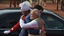 Modi and Trudeau hugging. Photo: Reuters