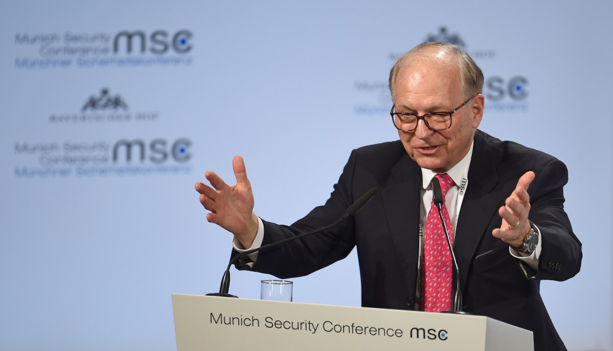 Chairman Wolfgang Ischinger addresses the Munich Security Conference last week. Photo: AFP/Andreas Gebert/DPA