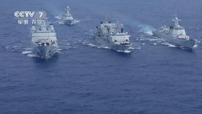 Chinese ships are seen operating in the eastern Indian Ocean in a TV broadcast. Photo: CCTV7 screen grab