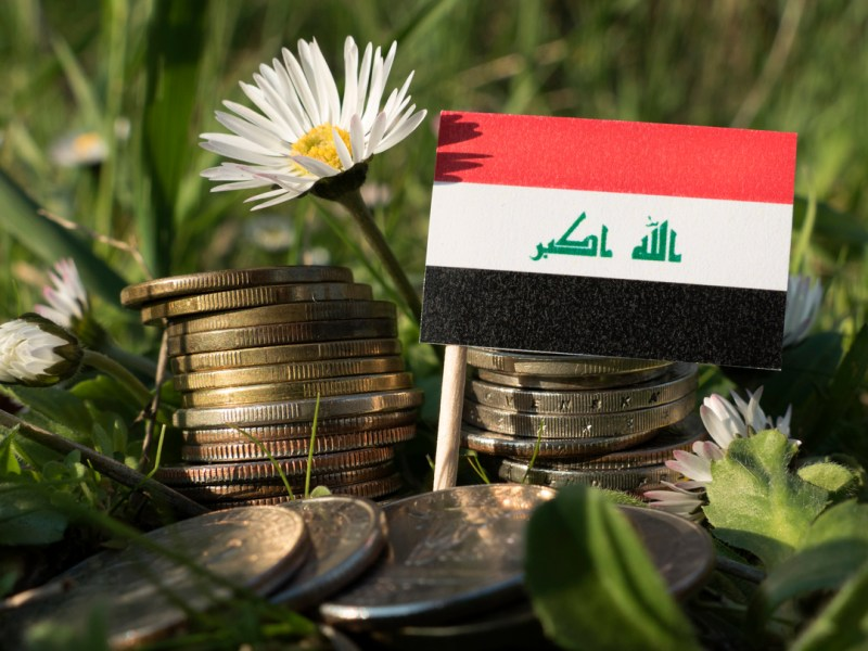Iraqi flag with stack of money coins with grass and flowers. Photo: iStock
