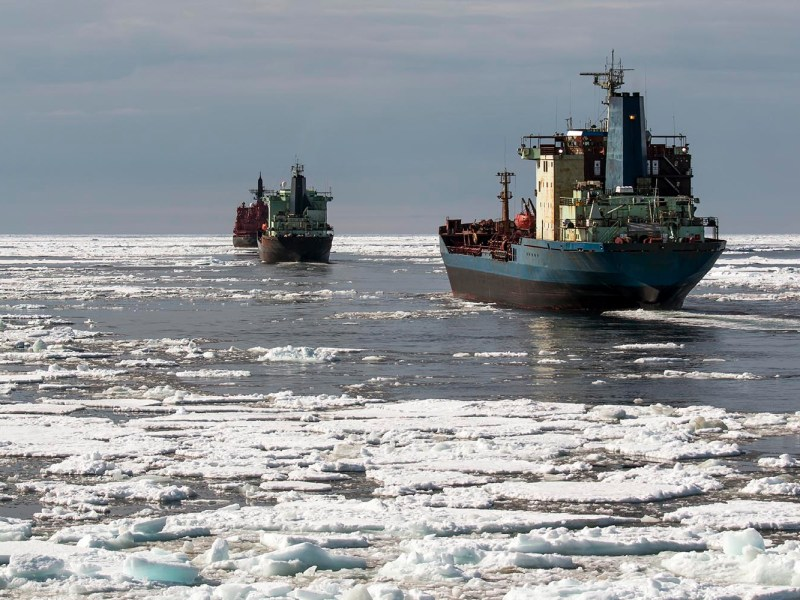 A convoy of ships follows an ice breaker on the Arctic's Northern Sea Route. Photo: iStock