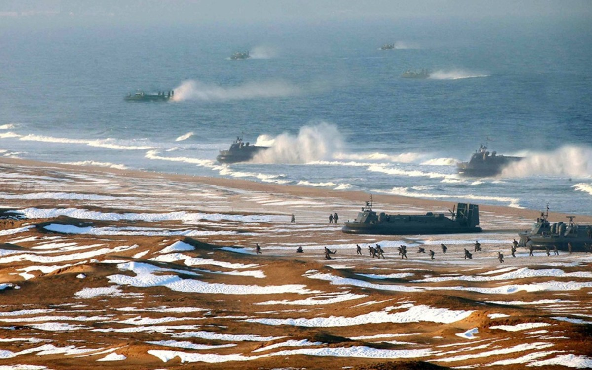 A photo released by North Korea's state news agency depicts a hovercraft marine landing. The photo was reportedly enhanced to duplicate the vessels depicted. Photo: KCNA