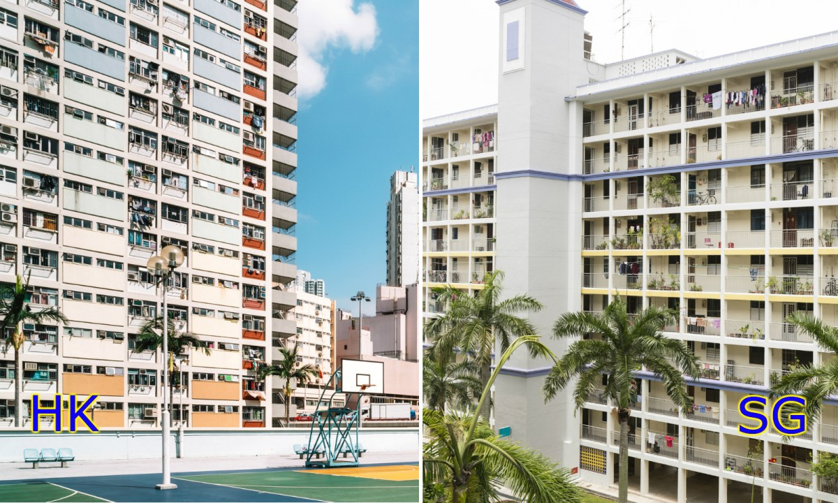 Public housing units in Hong Kong, left, and Singapore, right. Photo: iStock