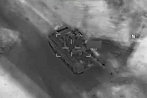 US Department of Defense (DoD) video purportedly showing a US Air Force Reaper strike on a Russia-made T-72 tank. Source: DoD screen grab via Military.com