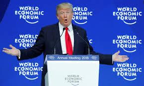 2018年1月26日,美国总统特朗普在瑞士达沃斯举行的世界经济论坛年会上发表讲站。相片:Reuters / Denis Balibouse