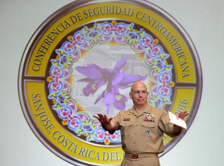 US Southern Commander Adm. Kurt Tidd gestures during the inauguration of the 2016 Conference of Central American Security in San Jose, Costa Rica. Photo: AFP/Ezequiel Becerra