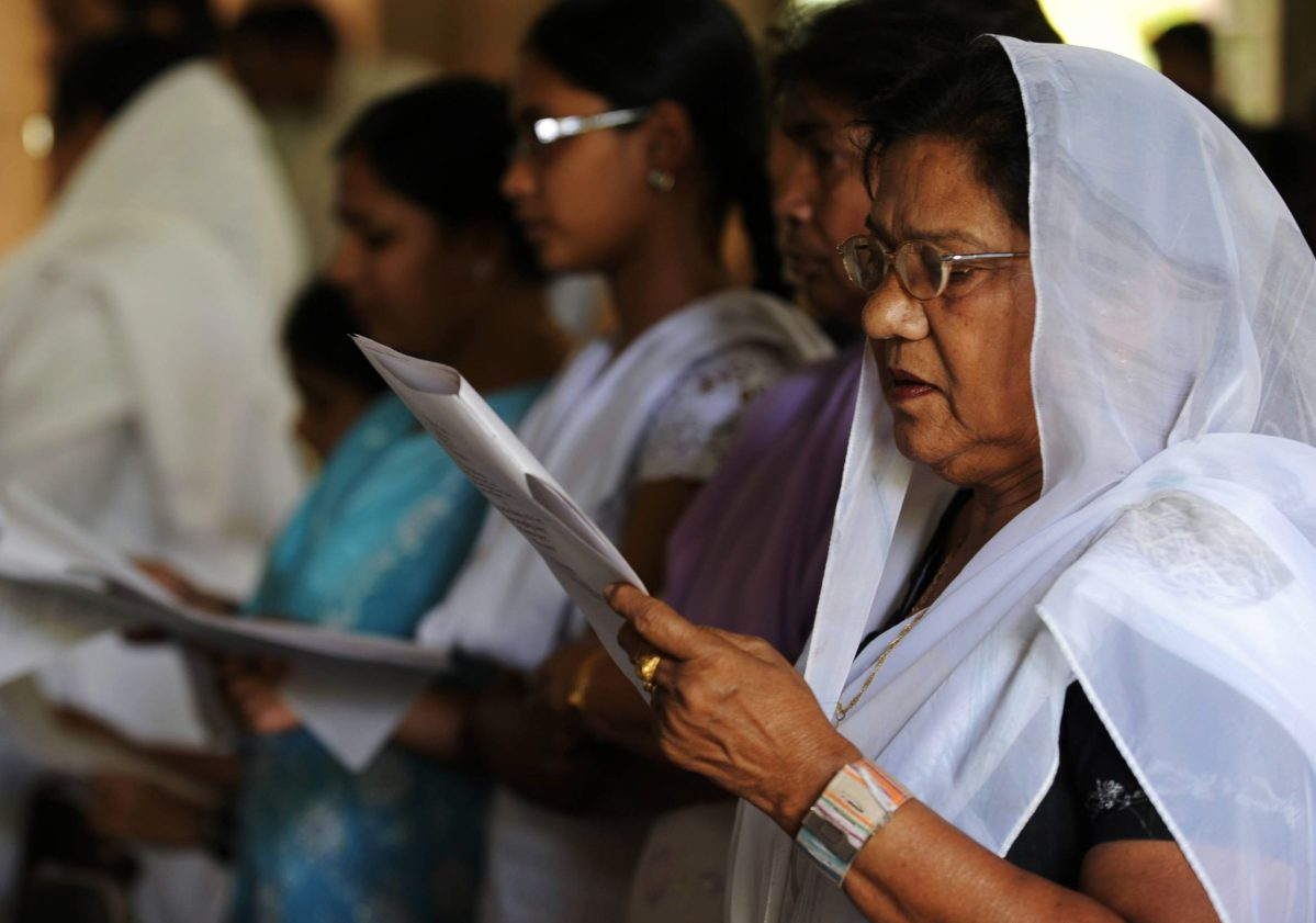 Indian Christians pray at the All Saints Cathedral in Uttar Pradesh. Photo: AFP/Diptendu Dutta