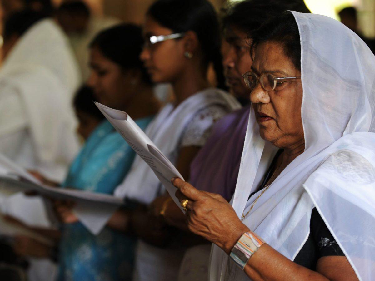 Indian Christians pray at the All Saints Cathedral in Uttar Pradesh. Photo: AFP/Diptendu Dutta
