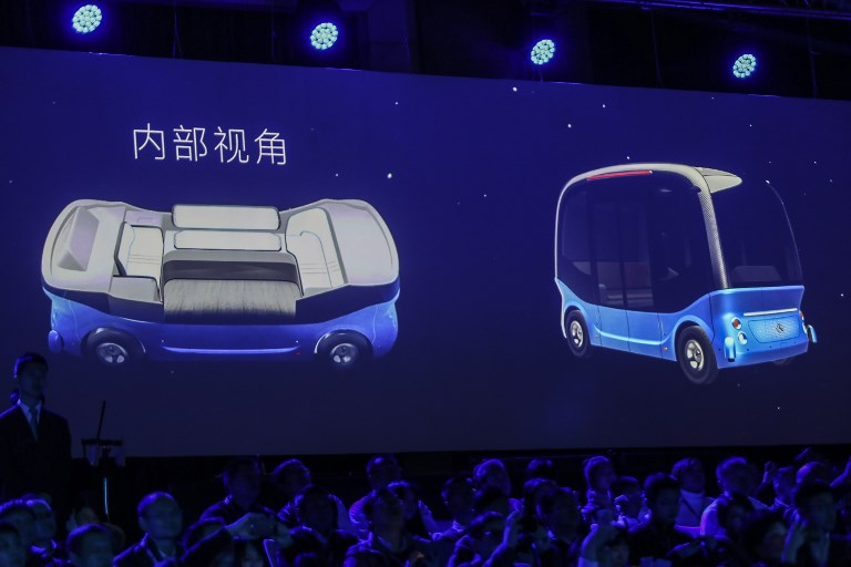 Robin Li,Chairman and CEO of Baidu Inc., introducing a concept self-driving car last November. Photo: AFP
