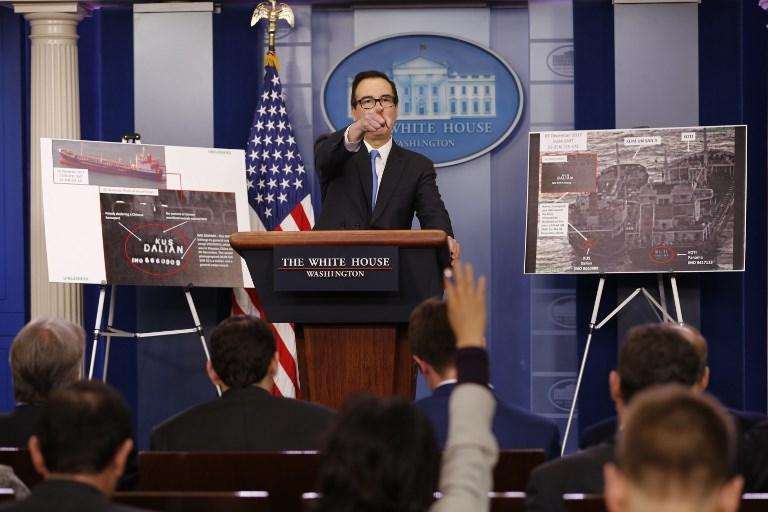 US Treasury Secretary Steven Mnuchin presents purported evidence of ship-to-ship oil transfers allegedly evading sanctions on North Korea Photo: CNP via AFP/Martin H Simon