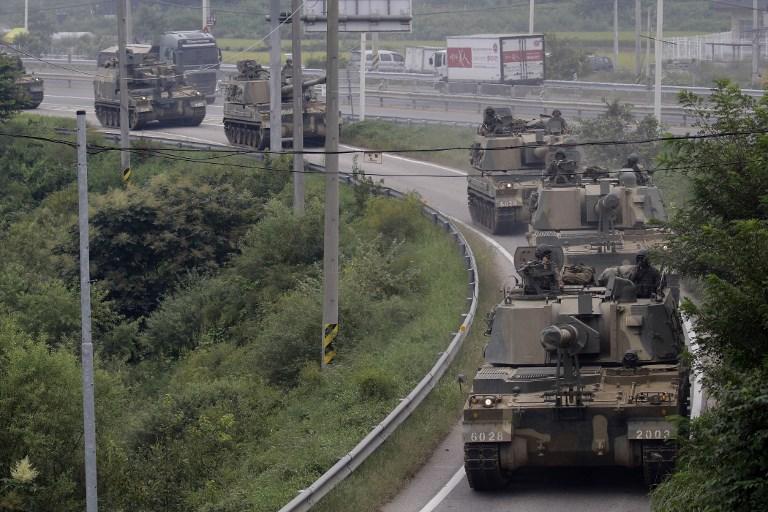 South Korean Military Tanks take part in an exercise near DMZ in Paju, South Korea.  Photo: NurPhoto via AFP/Ryu Seung-il