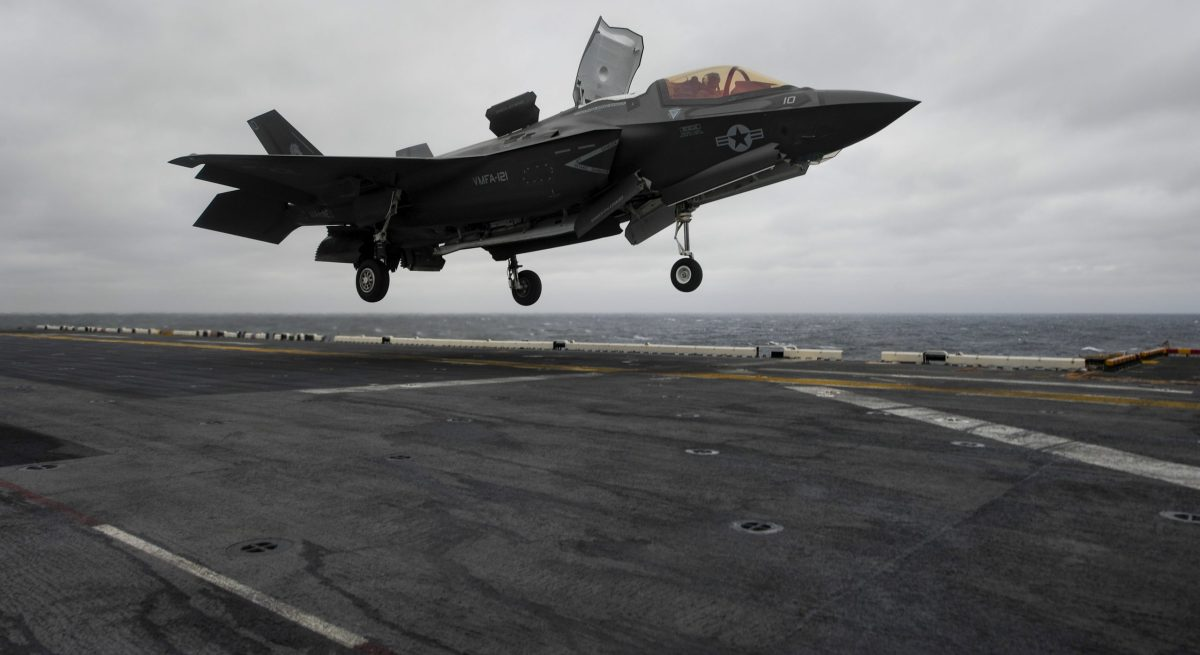 An F-35B lands on the flight deck of the amphibious assault ship USS Wasp. Photo: US Navy/Michael Molina