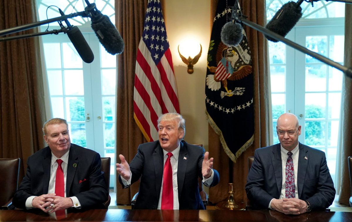 President Donald Trump meets with steel and aluminum industry executives in the White House on March 1. Photo: Reuters/Kevin Lamarque