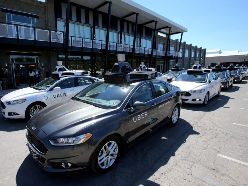 A fleet of Uber's Ford Fusion self-driving cars. Photo: Reuters/Aaron Josefczyk