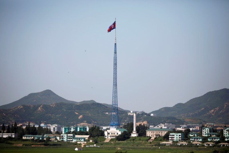 A North Korean flag flutters over the propaganda village of Gijungdong, near the truce village of Panmunjom. Photo:  Reuters/Kim Hong-Ji/File Photo
