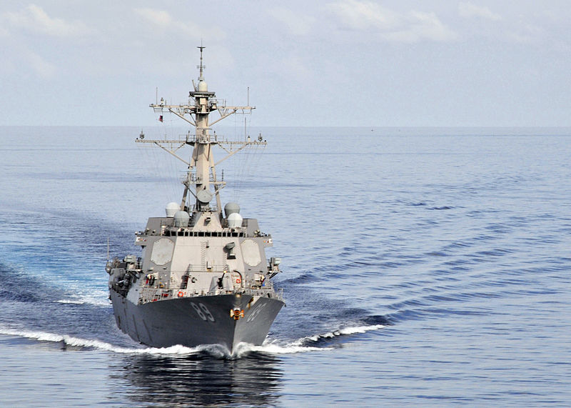 Arleigh Burke-class guided-missile destroyer USS Mustin seen in the Western Pacific. Photo: US Navy via Wikipedia Commons