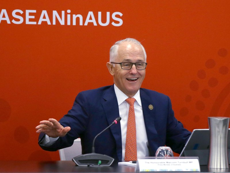 Australian Prime Minister Malcolm Turnbull reacts as he speaks to delegates during the opening remarks for an Emerging Leaders roundtable during the one-off summit of 10-member Association of Southeast Asian Nations (ASEAN) in Sydney, Australia, March 16, 2018.      Photo: Pool via Reuters/Rick Rycroft