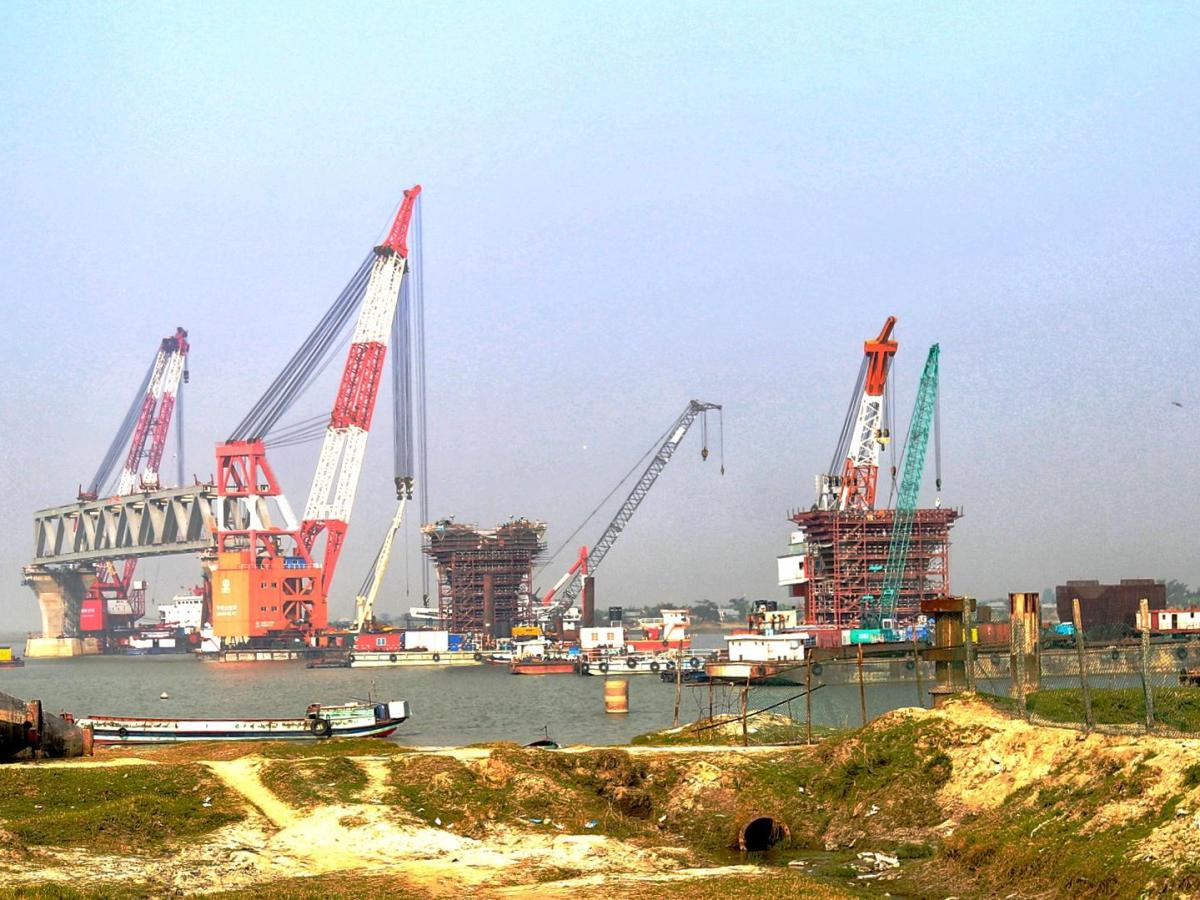 Construction of Padma Bridge, one of Bangladesh's largest infrastructure projects. Photo provided by author