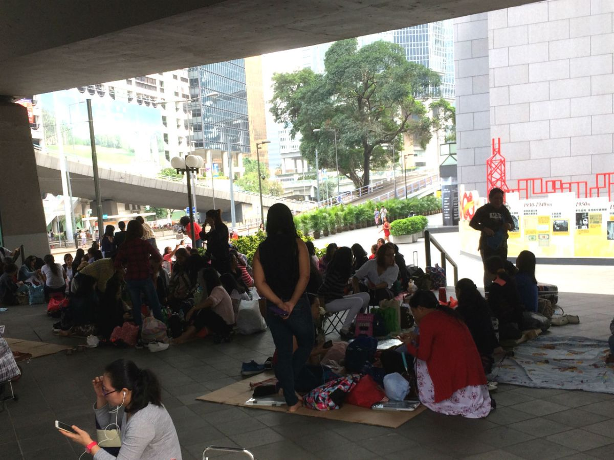 Domestic workers in Hong Kong gather on a day off. Photo: Asia Times