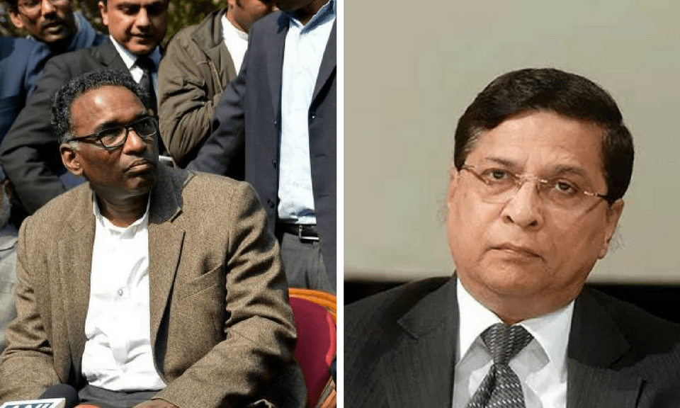 Justice J Chelameswar (left) and Chief Justice of India Dipak Misra (right). Photos: Reuters