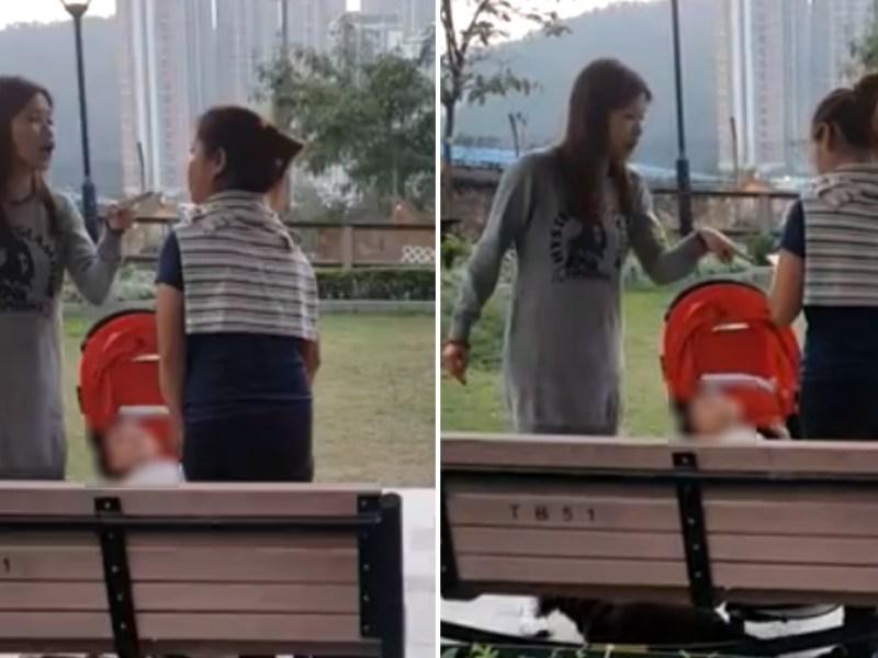 A local woman (left) is seen scolding a domestic worker in Wan Po Road Pet Garden in Tsuen Kwan O, the New Territories. Photo: Mel C. Santiago