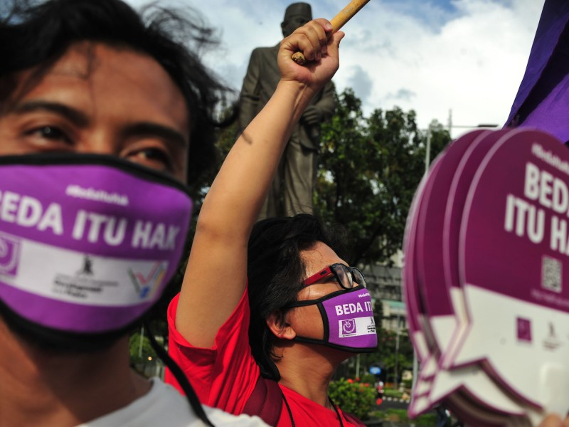Indonesian journalists wearing masks observe World Press Freedom Day in Jakarta, Indonesia, May 3, 2016. Photo: AFP Forum