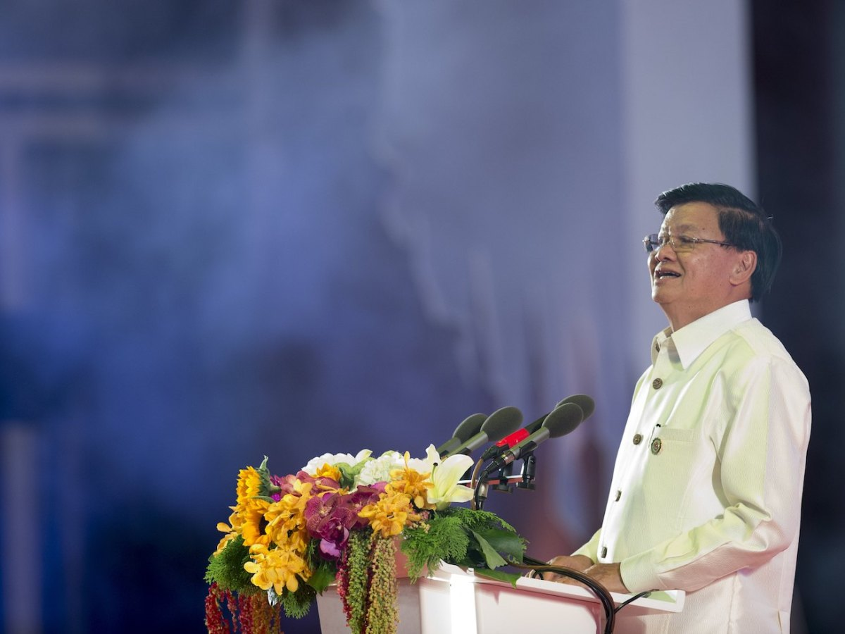 Lao Prime Minister Thongloun Sisoulith speaks during the Asean Gala Dinner at the National Convention Center in Vientiane, Laos, September 7, 2016. Photo: AFP/Saul Loeb