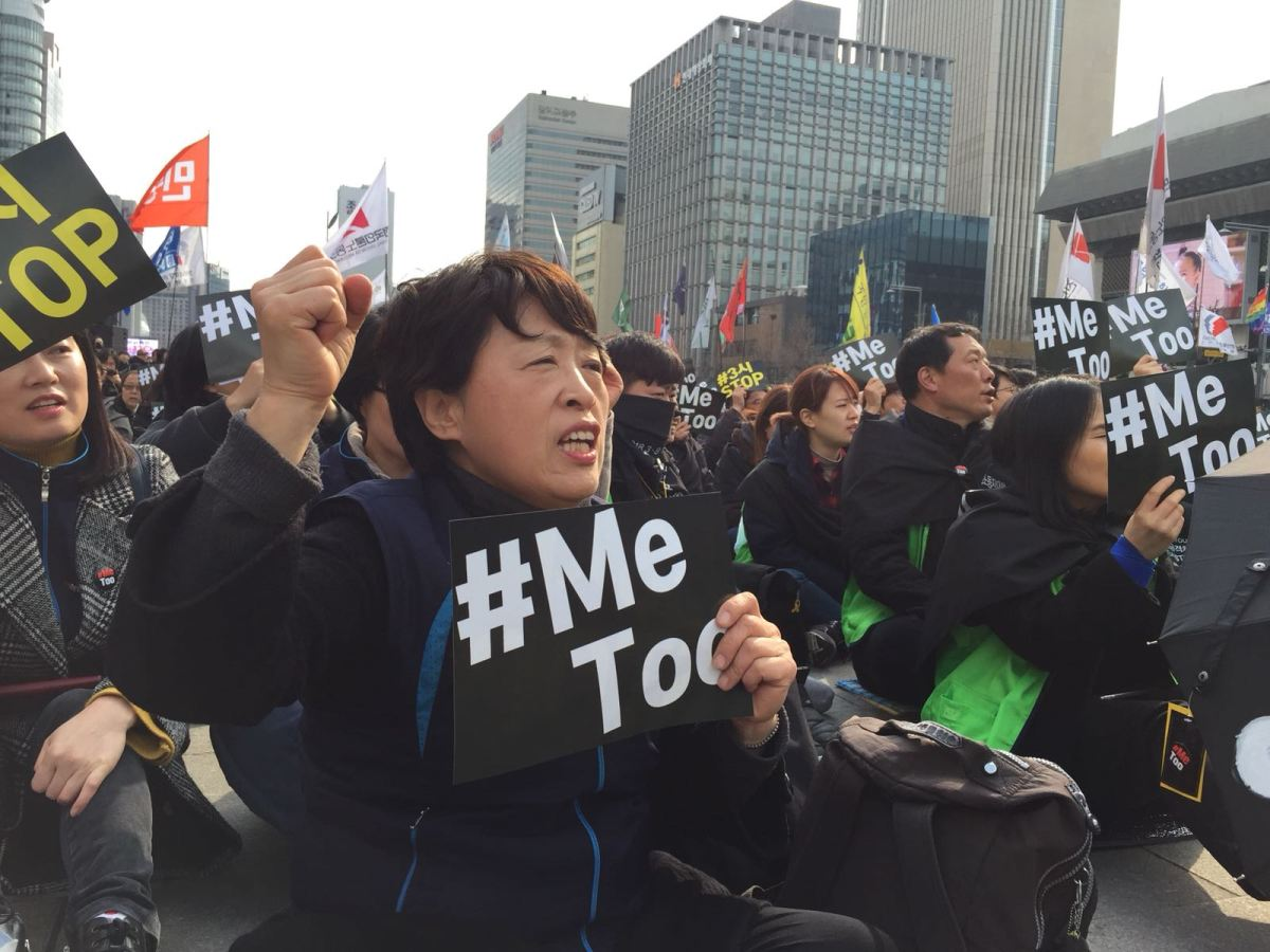Women rally against sexual abuse in downtown Seoul. Photo: Andrew Salmon