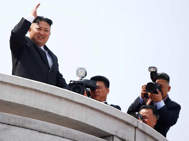 North Korean leader Kim Jong Un waves at a military parade marking the 105th birth anniversary of country's founding father Kim Il Sung, in Pyongyang April 15, 2017. Photo: Reuters/Damir Sagolj