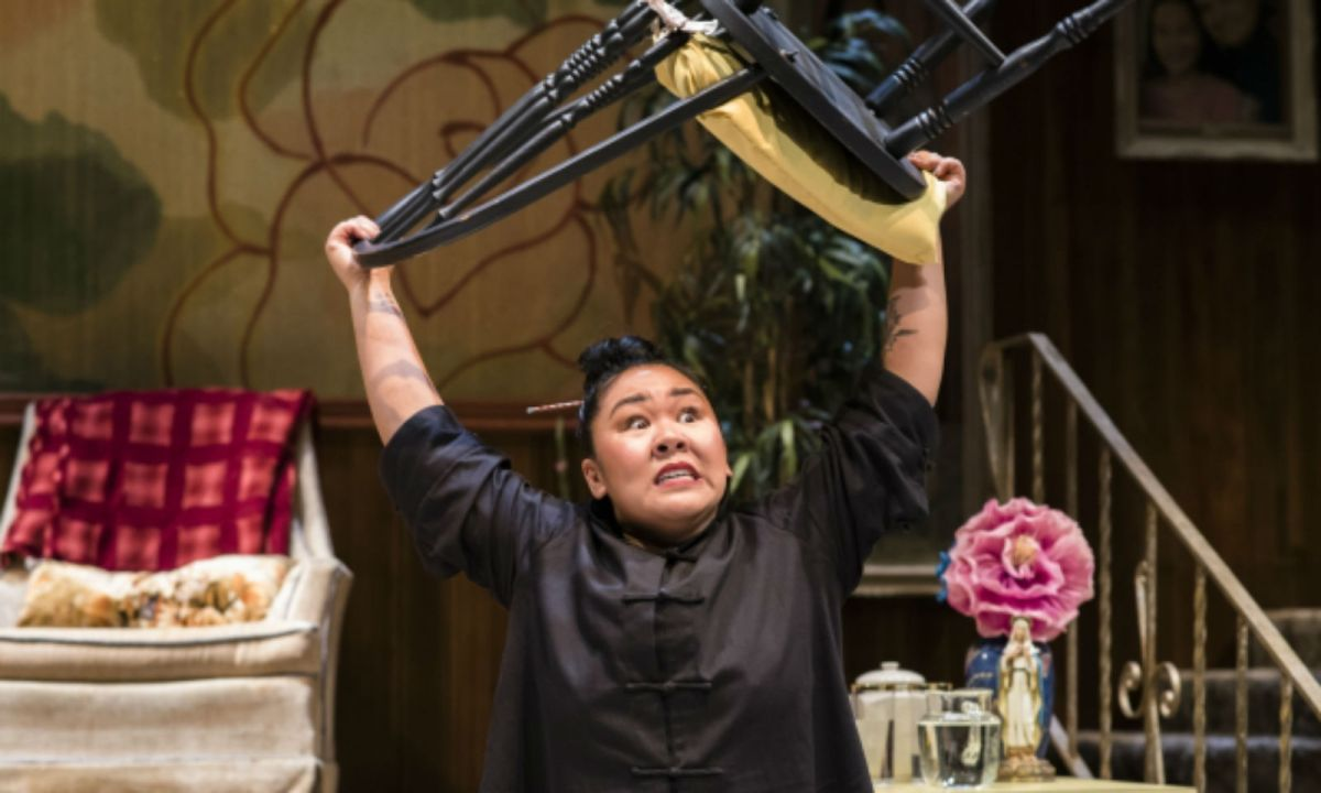 Sara Porkalob performs in 'Dragon Lady.' Photo: American Repertory Theater