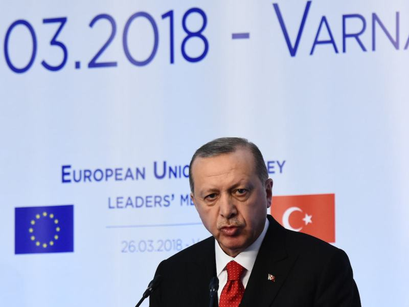 Turkish President Recep Tayyip Erdogan speaks during a news conference at the EU-Turkey summit, in Varna, Bulgaria, on March 26. Erdogan accused the EU of being biased in the ongoing dispute over energy exploration work off the disputed island of Cyprus. Photo: Petko Momchilov/Impact Press Group/NurPhoto