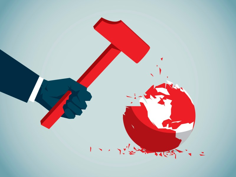 Hammer destroying the world. Image: iStock
