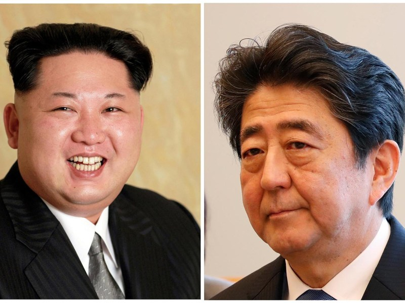 Kim Jong-un and Shinzo Abe: Meeting might help Abe more than Kim. Photos: Reuters (Kim via KCNA)