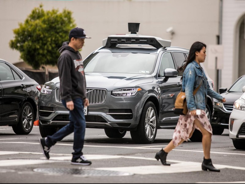 An Uber self-driving Volvo SUV negotiates the streets of San Francisco as part of Uber's testing program. Photo: iStock