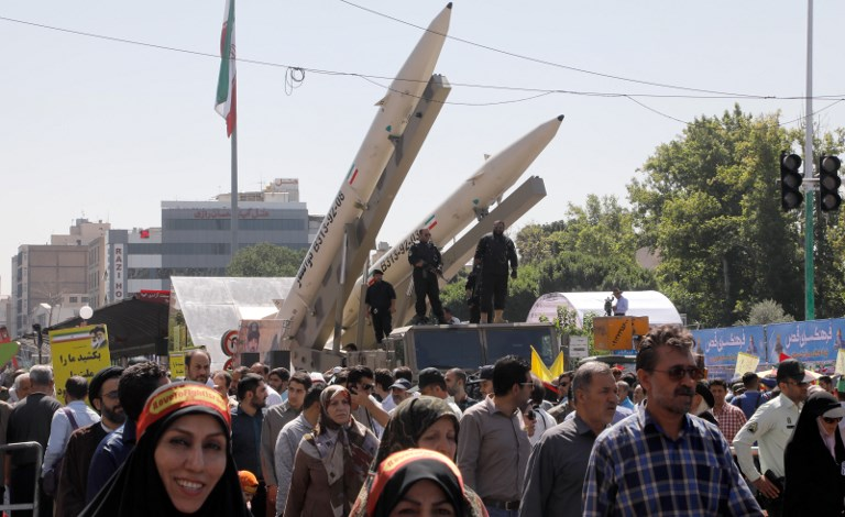 Zolfaghar missiles are displayed during a rally marking al-Quds (Jerusalem) Day in Tehran. Photo: Reuters/Stringer